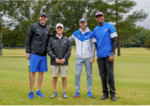 Photo of Mike Miller, Glen Brown, Cody Toppert, and Penny Hardaway on a golf course