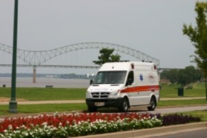 photo of EMHC ambulance at the river