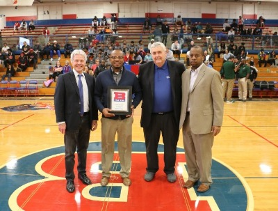 photo of Harold Byrd and Bruce Smith with others at a Bartlett High School basketball game