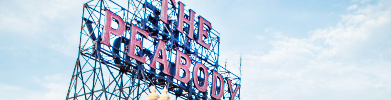 "Large metal sign that says ""The Peabody"""