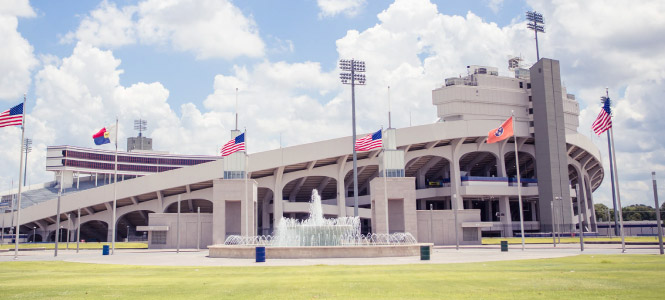 Wide shot of the Liberty Bowl stadium